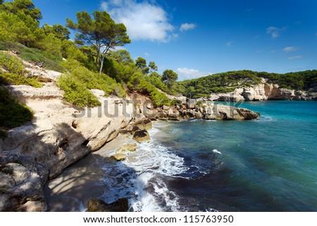 Southern coastline of Menorca,Cala Mitjana beach - stock photo