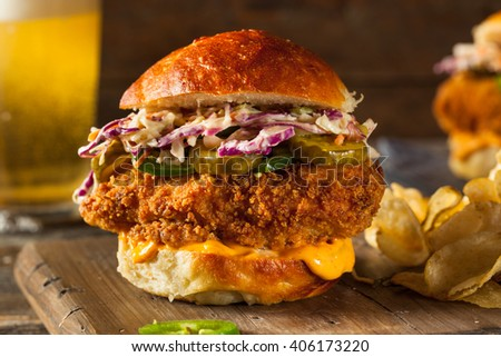 Southern Country Fried Chicken Sandwich with Mayo and Jalapenos