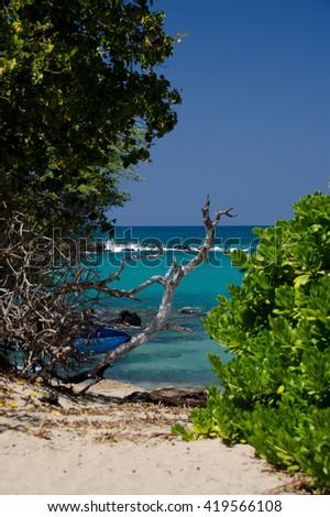 Southern end of Puako beach, Big Island, Hawaii - stock photo