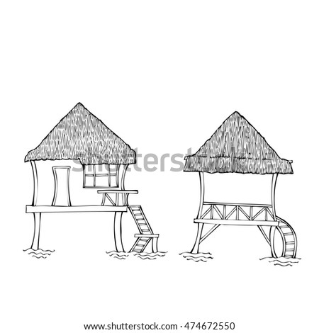 Southern huts.Sketches black and white.  Illustration