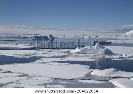 Southern Ocean and Antarctic islands near the Antarctic Peninsula in winter - stock photo
