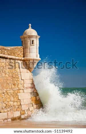 Southern Portuguese fortress defending the town of Lagos since 1400. - stock photo