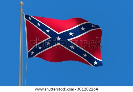 Southern rebel flag of the Confederate States of America - stock photo
