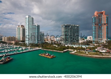 Southern tip of Miami beach view from above