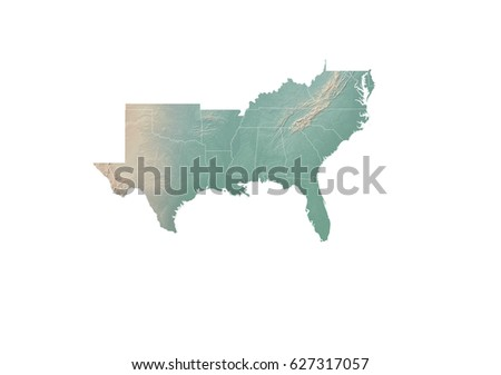 Southern United States Topographic Map