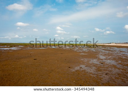 Southport Beach during low tide. Sunny weather. - stock photo