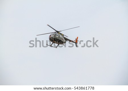 Southport, United Kingdom - September 9, 2012 : Civil Helicopter during airshow performance