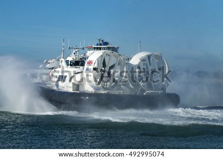 Southsea, Hampshire October 3 2016 Hovertravel Hovercraft, Solent Flyer, leaving for Ryde, Isle of Wight