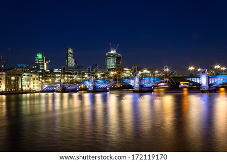 Southwark Bridge Nightscape and the City