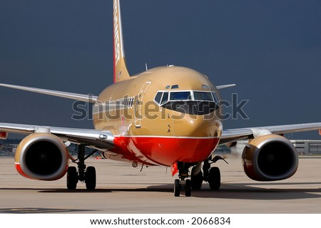 Southwest Airlines airplane taxiing at the airport - stock photo