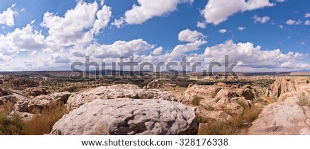 Southwest Landscape, Rocks and Sky Panoramic - stock photo