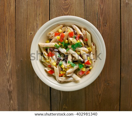 southwestern whole wheat pasta salad .flavor from black beans, corn and an easy yogurt salsa dressing.
