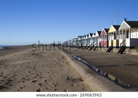 Southwold beach huts and beach, Suffolk , England
