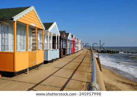 Southwold beach huts on the Promenade - stock photo