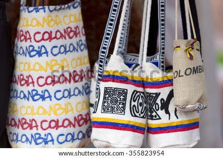 Souvenir bags for sale in Bogota, Colombia. They are called 'mochilas' and are typical of the Wayuu Indians - stock photo