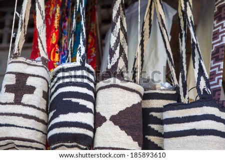 Souvenir bags for sale in Cartagena, Colombia. They are called 'mochilas' and are typical of the Wayuu Indians - stock photo
