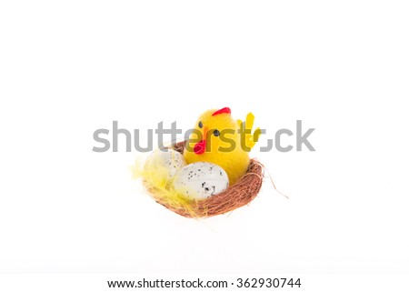 Souvenir for Easter - chicken egg hatches - stock photo