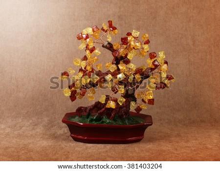 Souvenir for interior - tree of gems amber - stock photo