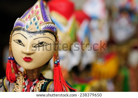 Souvenir from Bali island - traditional wood painting puppet. Indonesia.  - stock photo