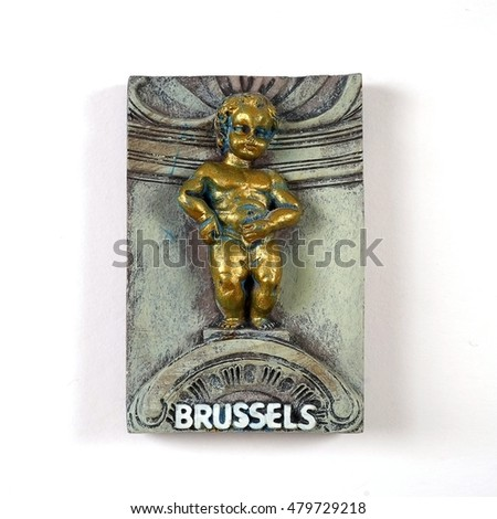 "Souvenir from Brussels (Belgium) with the image of the famous fountain with boy ""Manneken Pis"""