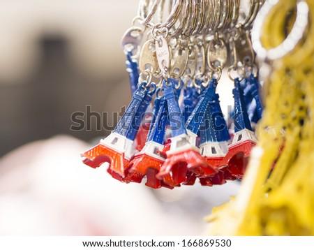 souvenir key chain of mini eiffel tower from paris france - stock photo