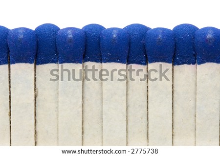 Souvenir matched. Extreme close-up. Isolated over white - stock photo