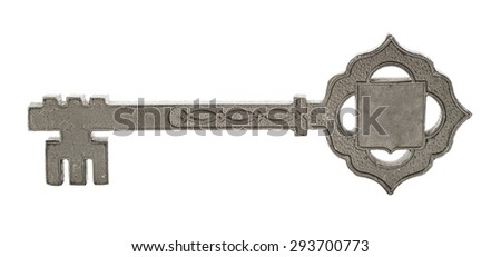 souvenir metal key isolated on a white background