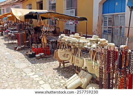 Souvenir Shops in the Old Town, Trinidad, Cuba - stock photo