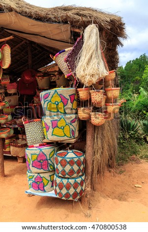 Souvenirs at a market in Africa, Madagascar