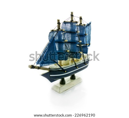 Souvenirs Ship Models background  isolated - stock photo