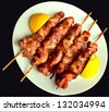 souvlaki greek tasty  traditional food from meat of pork or chicken - stock photo