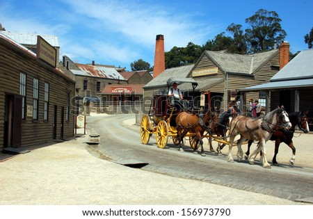 SOVEREIGN HILL, AUSTRALIA - MARCH 8: An open air museum in Golden Point. Sovereign Hill depicts Ballarat's first years after the discovery of gold. Sovereign hill, Ballarat, Australia - March 8, 2013 - stock photo