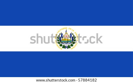 Sovereign state flag of country of El Salvador in official colors. - stock photo
