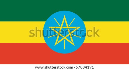 Sovereign state flag of country of Ethiopia  in official colors. - stock photo