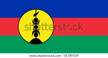 Sovereign state flag of dependent country of New Caledonia in official colors. - stock photo