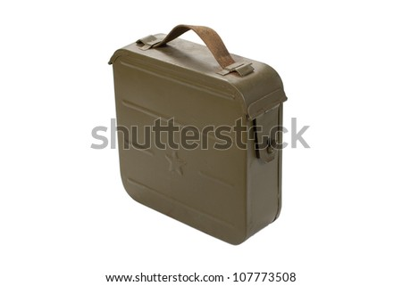soviet ammo case on white background - stock photo