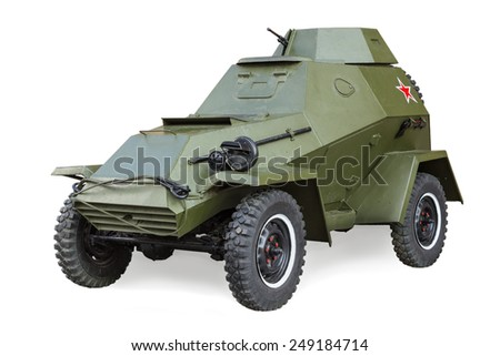 Soviet Armored Car BA-64 World War II  isolated on white background - stock photo
