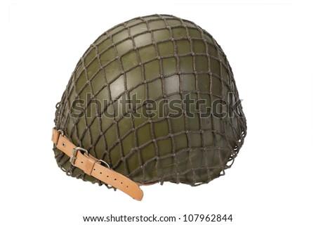 soviet army infantry helmet isolated on white - stock photo