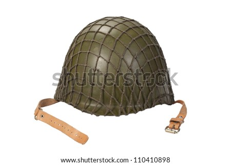soviet army mechanized infantry helmet isolated on white - stock photo