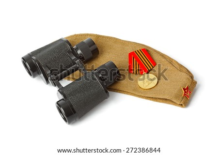 Soviet Army soldiers forage-cap and binoculars isolated on white background - stock photo