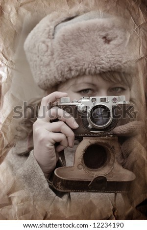 Soviet girl soldier. WW2 reenacting