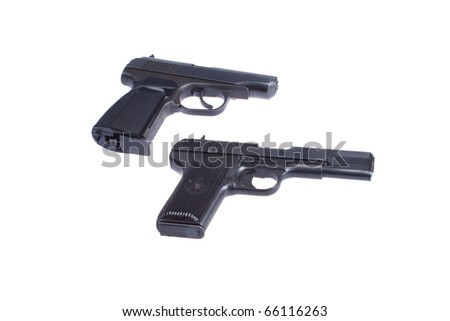 Soviet handgun TT (Tula, Tokarev) and PMM (Makarov) isolated on white background