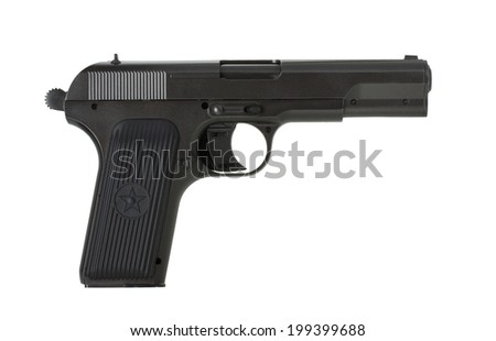 Soviet handgun TT (Tula, Tokarev) isolated on the white background