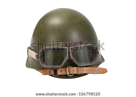 soviet helmet with goggles isolated on white - stock photo