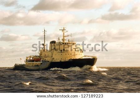 soviet ice-breaker in open sea
