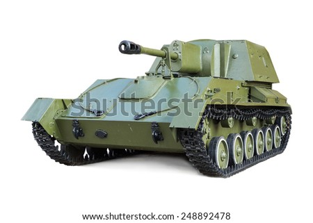Soviet self-Propelled artillery mount during the second world war SU-76 isolated on white background  - stock photo