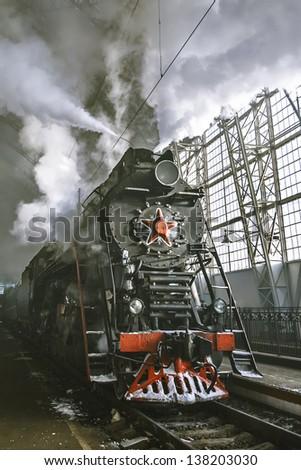 Soviet steam locomotive - stock photo