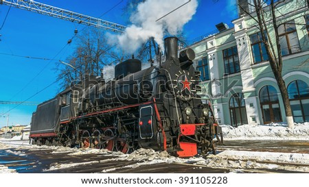 Soviet steam locomotive - stock photo