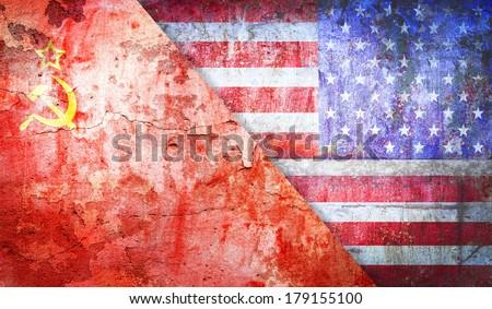 Soviet Union confrontation  United States America concept Cold War flag grunge vintage retro style - stock photo