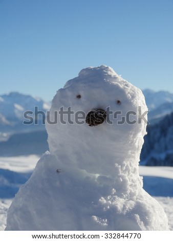sowmans face in front of winter landscape - stock photo